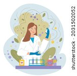 smiling female scientist or... | Shutterstock .eps vector #2031502052