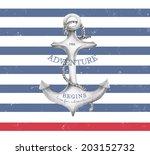 nautical label the adventure... | Shutterstock . vector #203152732