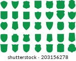 vector green shields set  35... | Shutterstock .eps vector #203156278