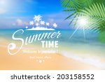 summer seaside view poster with ... | Shutterstock .eps vector #203158552