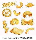 pasta varieties. watercolor... | Shutterstock . vector #203161732