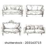 set of sofas drawings sketch... | Shutterstock .eps vector #203163715