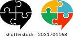 puzzle speech balloon icon set   Shutterstock .eps vector #2031701168