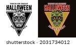 halloween emblem with zombie...   Shutterstock .eps vector #2031734012