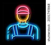 plumber worker neon light sign...   Shutterstock .eps vector #2031745868