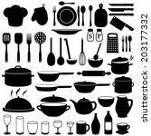 kitchen cooking icons set | Shutterstock .eps vector #203177332