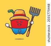 cute paprika farmer. vegetable...   Shutterstock .eps vector #2031775448