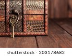 vintage key and old treasure... | Shutterstock . vector #203178682