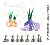 onion icons set. | Shutterstock .eps vector #203179066