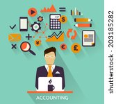 flat design . freelance career. ... | Shutterstock .eps vector #203185282