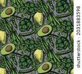 green vegitables pattern with... | Shutterstock .eps vector #2031883598
