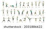 woman fitness. big set of...   Shutterstock .eps vector #2031886622