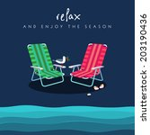 two beach chairs in red and...   Shutterstock .eps vector #203190436
