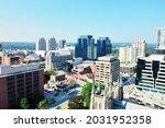 An aerial of the London, Ontario, Canada city center