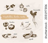 vegetables collection. set of... | Shutterstock .eps vector #203197306