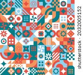 abstract geometric mosaic... | Shutterstock .eps vector #2032005152
