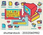 nostalgia pixel window.old... | Shutterstock .eps vector #2032060982