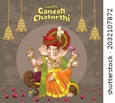 ganesh chaturthi greetings with ... | Shutterstock .eps vector #2032107872