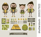 arrows,backpack,beard,book,bottle,boy,characters,dots,eco,ecology,equipment,euro,flashlight,fork,geologist