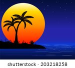 sea beach with palm trees in...   Shutterstock .eps vector #203218258