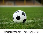 close up soccer ball on green... | Shutterstock . vector #203221012