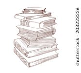 pile of books. hand drawn... | Shutterstock .eps vector #203223226