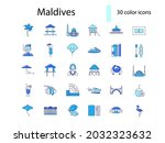 maldives attributes outline... | Shutterstock .eps vector #2032323632