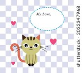 cute kitten cat love greeting...   Shutterstock .eps vector #2032347968