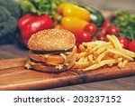 hamburger and fries with... | Shutterstock . vector #203237152