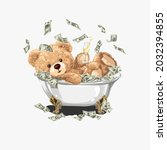 bear doll with champagne glass... | Shutterstock .eps vector #2032394855