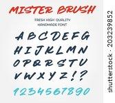 retro vector type font alphabet ... | Shutterstock .eps vector #203239852