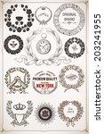 laurel wreath set. design... | Shutterstock .eps vector #203241955