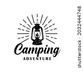 hand drawn camping logo with... | Shutterstock .eps vector #2032444748