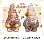 Hand Drawn Cute Gnomes In...