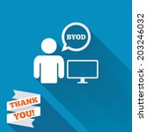 byod sign icon. bring your own... | Shutterstock .eps vector #203246032
