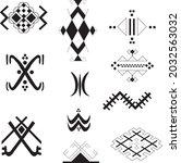 set of black and white tribal... | Shutterstock .eps vector #2032563032
