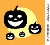 halloween vector  scary pumkins ... | Shutterstock .eps vector #2032622228
