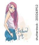 fashion girl  | Shutterstock .eps vector #203263912