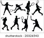 tennis players silhouette... | Shutterstock .eps vector #20326543