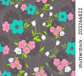 floral seamless pattern with... | Shutterstock .eps vector #203266822