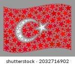 mosaic waving turkey flag... | Shutterstock .eps vector #2032716902