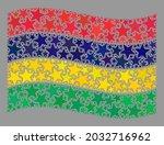 mosaic waving mauritius flag... | Shutterstock .eps vector #2032716962