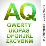 modern alphabet with triangle...