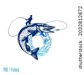 vector fishing logo with fish... | Shutterstock .eps vector #2032812872