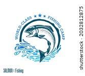 vector fishing logo with... | Shutterstock .eps vector #2032812875