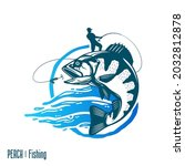 vector fishing logo with fish...   Shutterstock .eps vector #2032812878