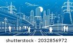wide highway. modern night town....   Shutterstock .eps vector #2032856972