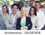 happy group of co workers... | Shutterstock . vector #203287858