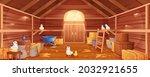 Cartoon Barn Interior With...