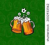 vector beer mugs and football... | Shutterstock .eps vector #2032933562